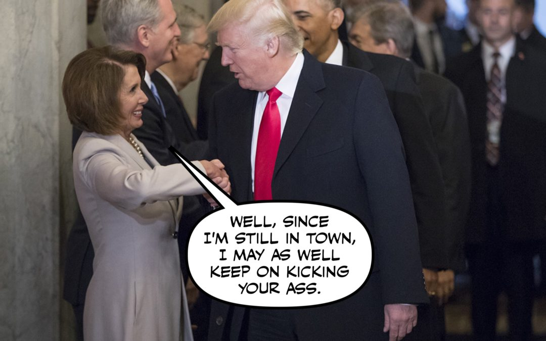 Placid Pelosi Plucks Petulant President's Pulpit…Perfection!