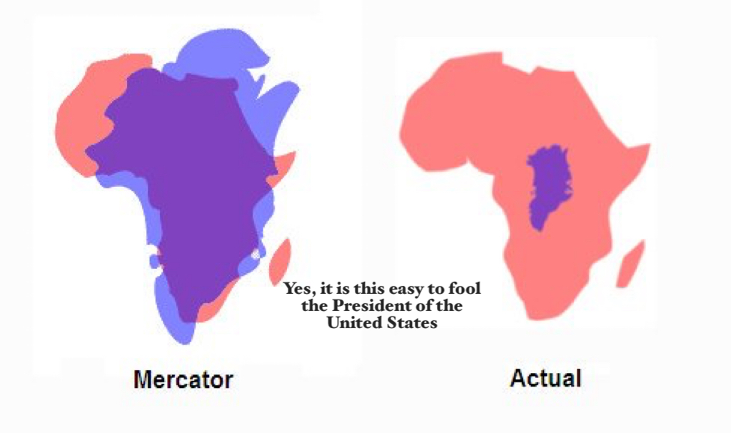 Mercator Map Leads Doltish Dotard to Fatuous Fantasy of Greenland Grab
